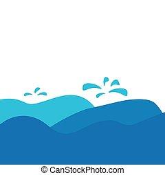 vecteur, illustration, mer, vagues