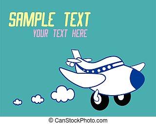 vecteur, illustration, mignon, dessin animé, avion
