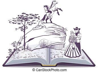 vecteur, illustration, page, décapité, livre, ouvert, cavalier