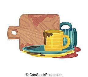 vecteur, illustration, pile, plats, vaisselle, sale