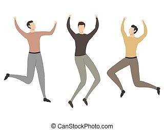vecteur, illustration., plat, sauter personnes, heureux