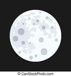vecteur, illustration, pleine lune