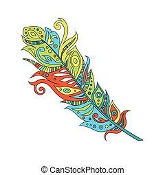 vecteur, illustration, plume