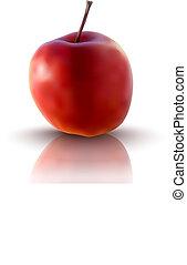 vecteur, illustration, pomme rouge
