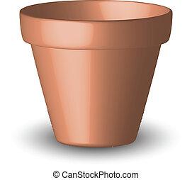 vecteur, illustration, pot fleurs