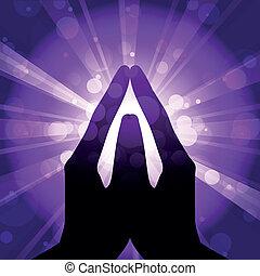 vecteur, illustration, prière