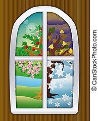 vecteur, illustration, quatre, fenêtre, fond, saisons
