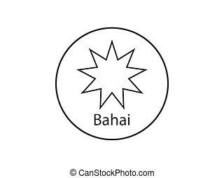 vecteur, illustration, religieux, bahai, design., plat, icon...