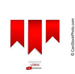 vecteur, illustration., rouges, ribbons.