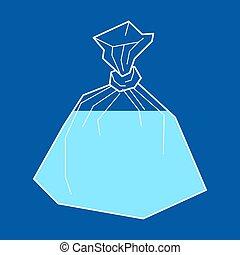 vecteur, illustration, sac, eau, isolated., plastique