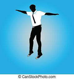 vecteur, illustration, sauter, homme