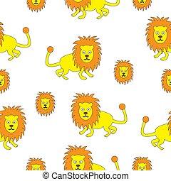 vecteur, illustration, seamless, lion.