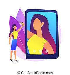 vecteur, illustration., selfie, concept, résumé