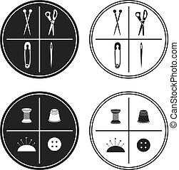 vecteur, illustration, sewing., étiquette