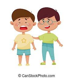 vecteur, illustration, sien, ami, pleurer, réconfortant, ...