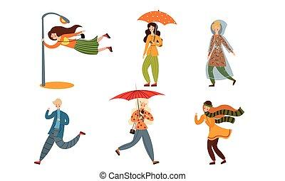 vecteur, illustration, style., day., ensemble, venteux, plat...