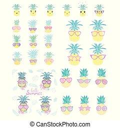 vecteur, illustration, styles., ensemble, ananas, différent