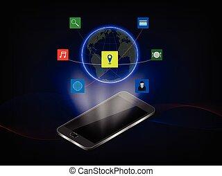 vecteur, illustration, téléphone, hologramme, fond, communication, intelligent, concept, technologie
