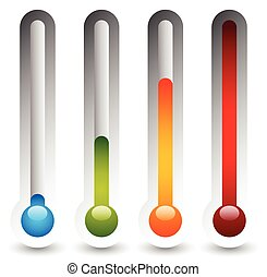 vecteur, illustration., temperatures., set., chaud, froid, thermomètre