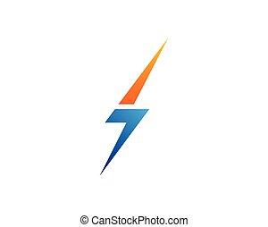 vecteur, illustration, tonnerre, puissance, flash