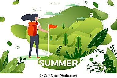 vecteur, illustration, -, touriste, regarder, montagne