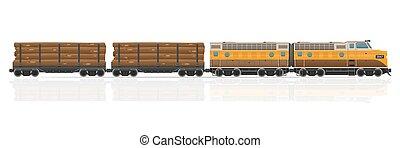 vecteur, illustration, train, chariots, ferroviaire, locomotive