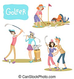 vecteur, illustrations, ensemble, golf, games.