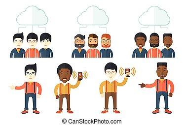 vecteur, illustrations, gens., ensemble, business