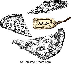 vecteur,  illustrations, tranches, ensemble,  pizza