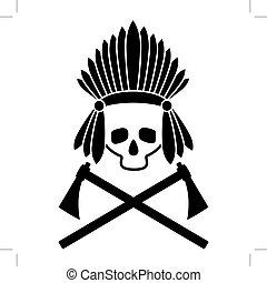 vecteur, image., crâne, chief., indien, noir, picture., blanc, icon.