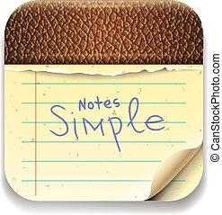 vecteur, image, interface, icône, bloc-notes, eps10, utilisateur
