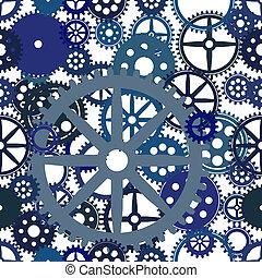 vecteur, image, seamless, rouage horloge, fond, eps8