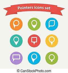 vecteur, indicateur, ensemble, blanc, formes, divers, icônes