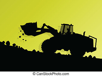 vecteur, industriel, creuser, excavateur, ouvriers, site, illustration, chargeur, machine, construction, hydraulique, fond, tracteur