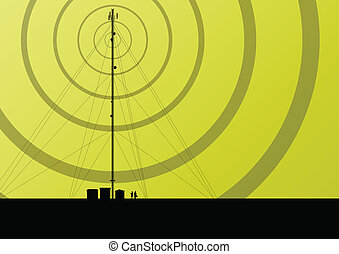 vecteur, industriel, téléphone portable, concept, radio, fond, station, tour, base, télécommunications, ingénieurs