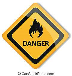 vecteur, inflammable, illustration, étiquette