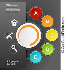 vecteur, infographic, conception, sur, les, arrière-plan noir