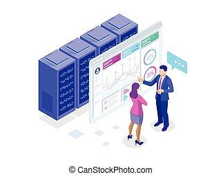 vecteur, information, isométrique, concept, financier, business, diagrammes, écran, illustration, graphiques, strategy., informatique, infographics, données, ou, statistic.