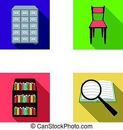 vecteur, information, style, ensemble, étagères, search., icônes, symbole, web., bibliothèque, cabinet, librairie, plat, illustration, chaise, collection, cabinet, classement, stockage