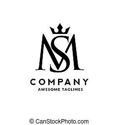 vecteur, initiale, lettre, sm, couronne, logo