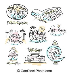 vecteur, inscription, plage., logos, main, emblèmes, ensemble, californie, insignes