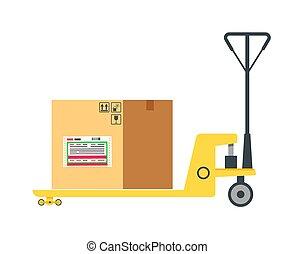 vecteur, inscrivez case, bureau, élément, carton, charrette