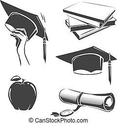 vecteur, insignes, éléments, emblèmes, étiquettes, remise de diplomes, vendange