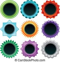 vecteur, insignes, dans, différent, couleurs