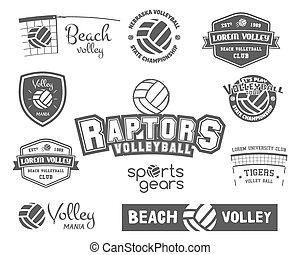 vecteur, insignes, insignias., icônes, logo, set., étiquettes, club, volley-ball, sports, sites, magazines., magasins, volée, sport, ou, mieux