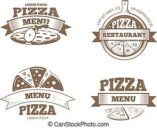 vecteur, insignes, logos, menu restaurant, étiquettes, emblèmes, ensemble, pizza