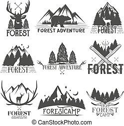 vecteur, insignes, logos, silhouettes., étiquettes, isolé, arbres, thème, ensemble, forêt, fond, vendange, illustrations, emblems., blanc, animal, autocollants