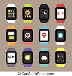 vecteur, intelligent, montre, icônes