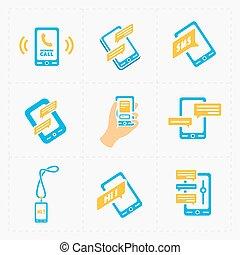 vecteur, intelligent, téléphone, icônes, blanc