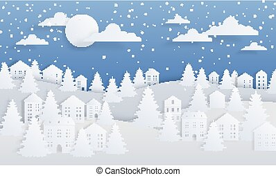 vecteur, invitation, nuit, arrière-plan., paysage, noël, hiver, papier, dessin animé, étoilé, village, impeccable, arbres., carte, métier